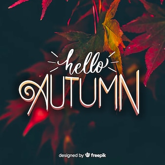 Hello autumn lettering with photo