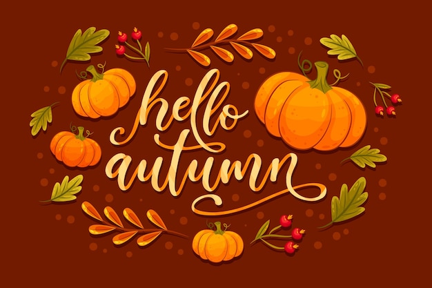 Hello autumn lettering with pumpkins