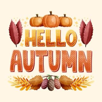 こんにちは、季節の要素を持つ秋のレタリング