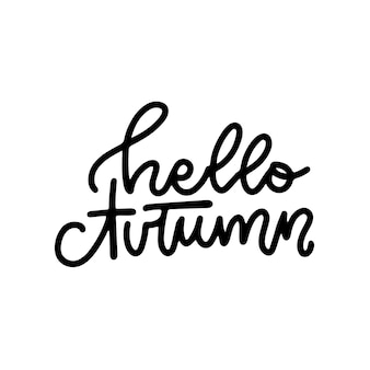 Hello autumn  linear logo design isolated on white background hello autumn typography and lettering ...