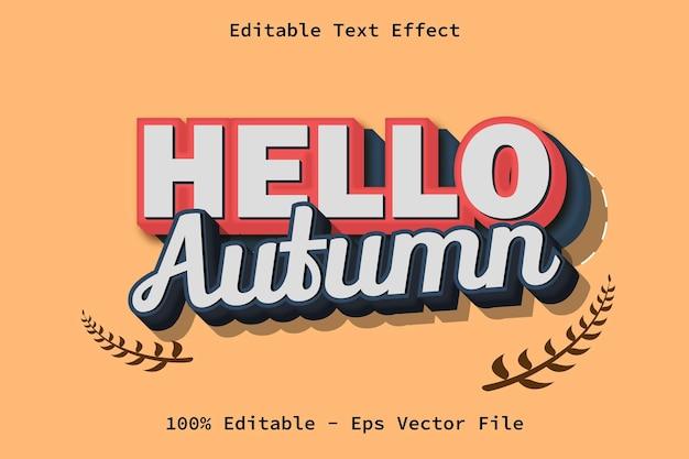Привет, осень, текстовый эффект в современном стиле