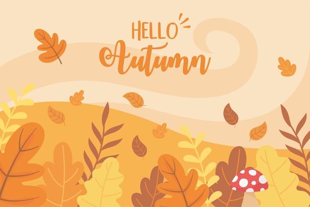Hello autumn mushroom leaves bush nature scene landscape