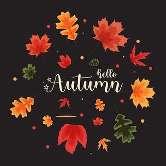 Здравствуйте, осенний шаблон естественного фона с падающими листьями. векторные иллюстрации