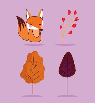 Hello autumn, nature fox animal trees floral branch icons.