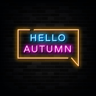 Hello autumn neon signs vector