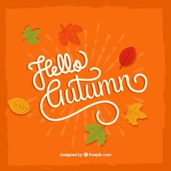 Hello autumn, orange background