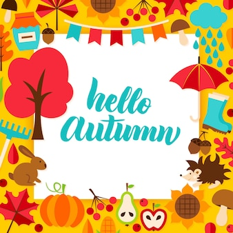 Hello autumn paper concept. vector illustration with lettering. fall season.