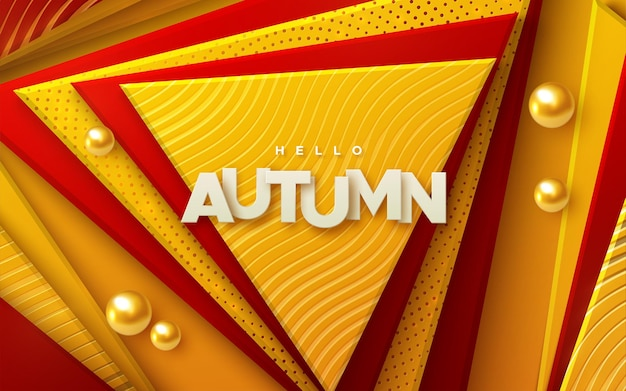 Hello autumn paper sign on red and orange geometric triangle shapes abstract background