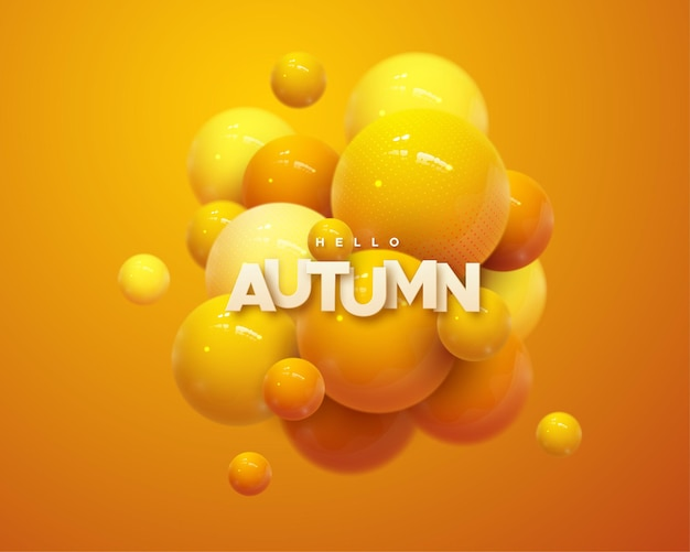 Hello autumn paper sign with orange glossy bubbles