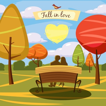 Hello autumn, park, lovers landscape fall in love