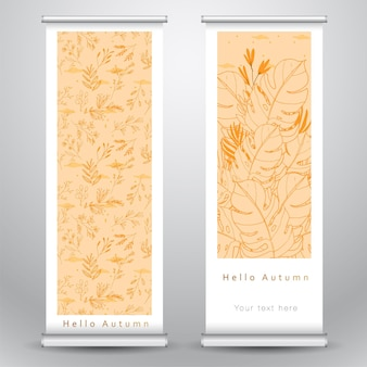 Hello autumn pattern roll banner template design with yellow leaves