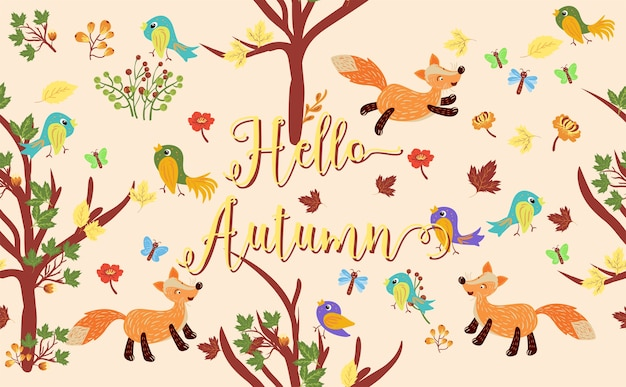 Hello autumn pattern