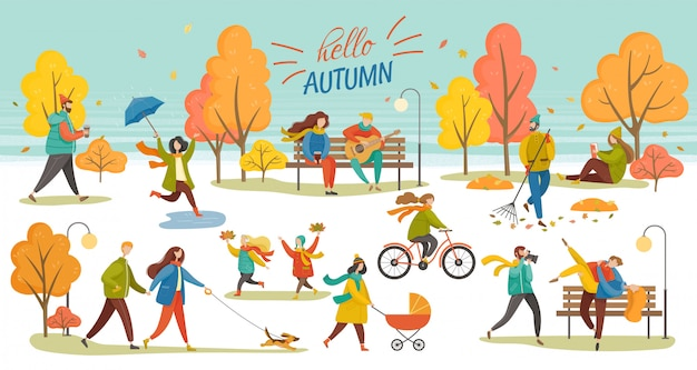 Hello autumn people walking in park fall vector