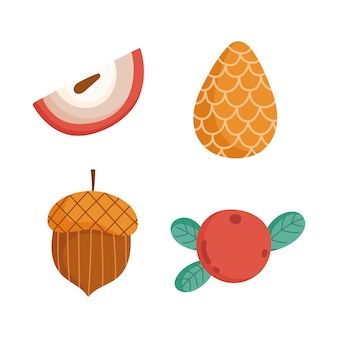 Здравствуйте, осенние значки сезона желудей плода шишки.