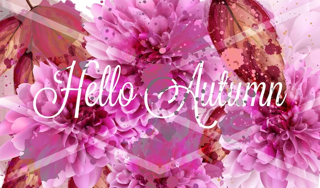 Hello autumn pink daisy flowers watercolor