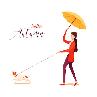 Hello autumn poster with cute young woman character walking dog, beautiful girl holding umbrella and puppy on leash, rainy weather, fall time.
