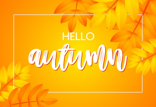 Hello autumn poster with yellow