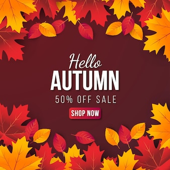 Hello autumn sale banner background with leaf. special offer up to 50%.premium vector