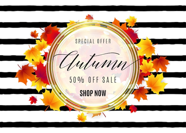 Hello autumn sale with white round geometric frame, golden lines, falling red maple leaves on striped texture