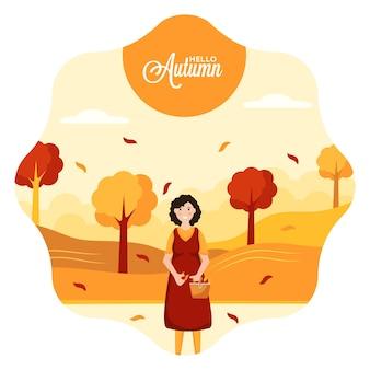 Привет осенний сезон и женщины, держащие корзину, полную листьев, на творческом минимальном фоне
