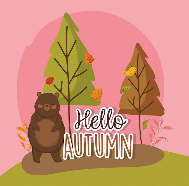 Hello autumn season flat