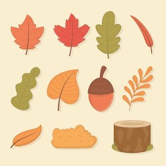 Hello autumn season leafs and set icons