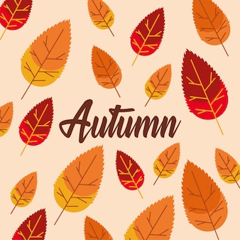 Hello autumn season leaves and calligraphy