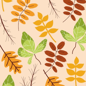 Hello autumn season leaves pattern
