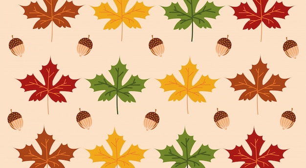 Hello autumn season maple leaves and acorns pattern