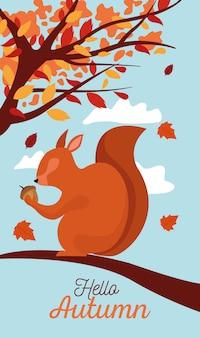 Hello autumn season scene with chipmunk