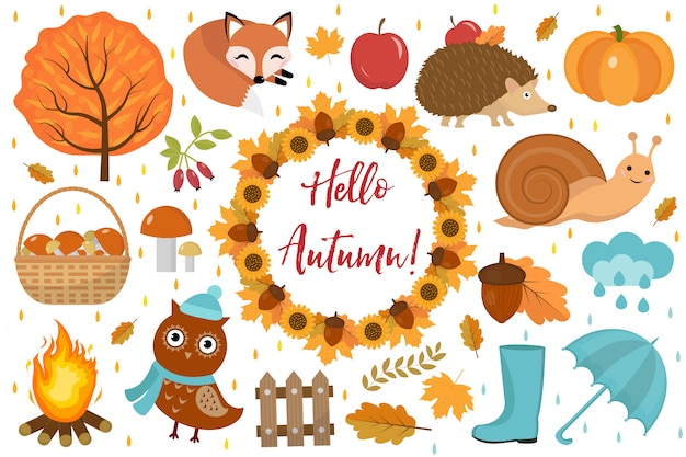 Hello autumn set flat or cartoon style.collection design elements with leaves, trees, mushrooms, pumpkin, wild animals, umbrella and boots. isolated on white background. vector illustration.