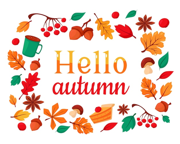 Привет осень. набор осенних элементов желуди, чашка кофе, осенние листья, рябина, калина, шарф, тыквенный пирог.