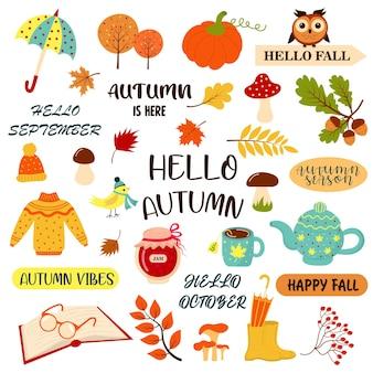Hello autumn set with autumn phrases and cozy fall season elements concept for season change