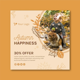 Hello autumn square flyer template