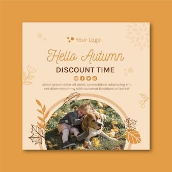 Hello autumn square flyer