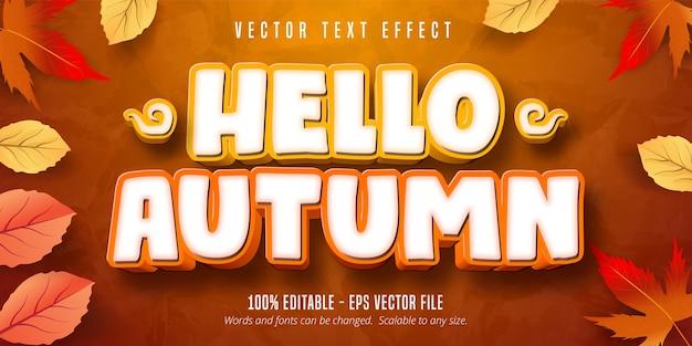 안녕하세요 가을 텍스트, 가을 스타일 편집 가능한 텍스트 효과