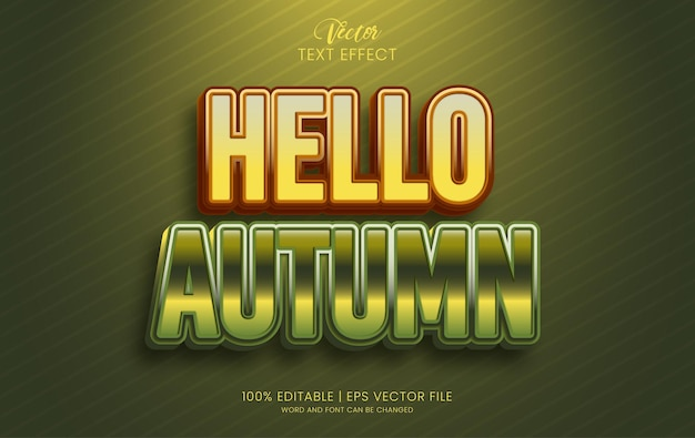 안녕하세요 가을 텍스트 효과 그라데이션 스타일 템플릿