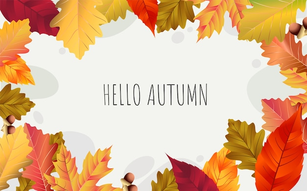 Hello autumn text for september banner