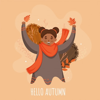 Hello autumn text with smiley cute girl in jumping pose on abstract peach background.