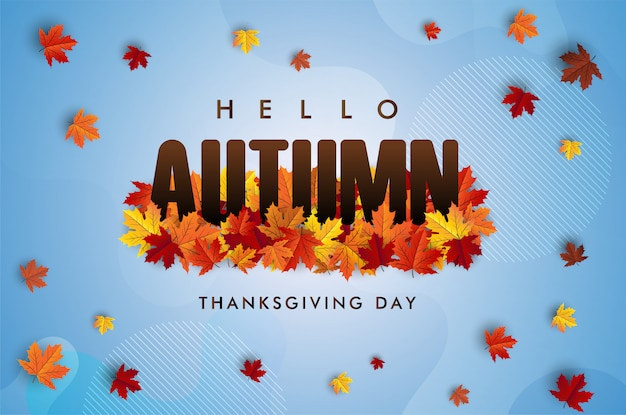 Hello autumn. thanksgiving day concept