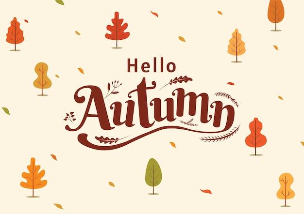 안녕하세요 가을, 추수 감사절, 가을, 타이포그래피, 서예 디자인, 벡터 일러스트 레이 션