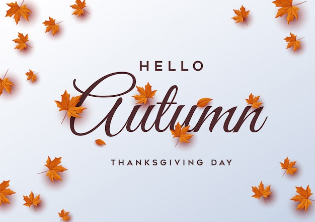 Hello autumn. thanksgiving day greeting card