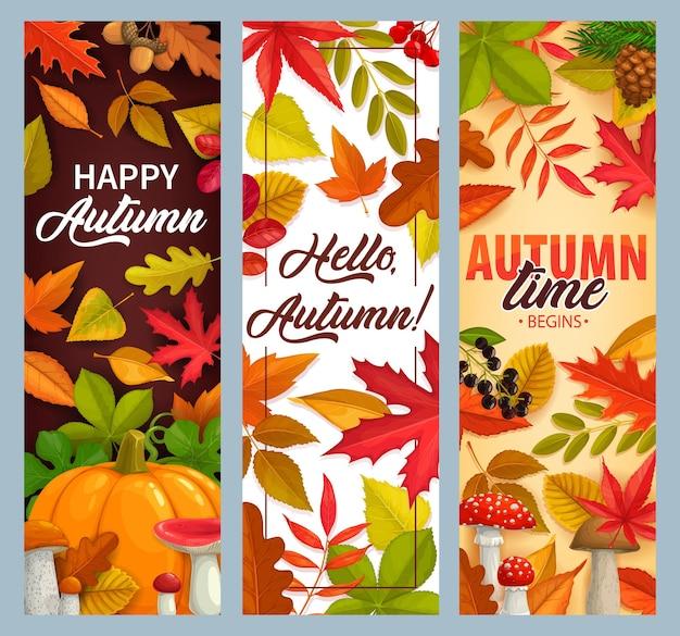 Привет осень векторные баннеры с падающими листьями