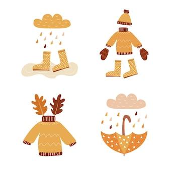 안녕하세요 가을 벡터 설정 가을 인사말 카드 배너 포스터