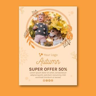 Hello autumn vertical flyer template