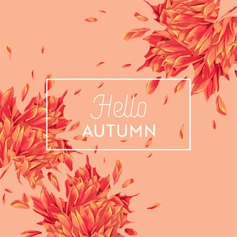 Hello autumn watercolor floral design with maple leaf. seasonal fall