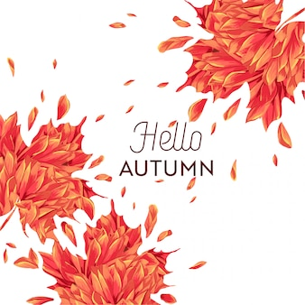 Hello autumn watercolor floral design with maple leaf.