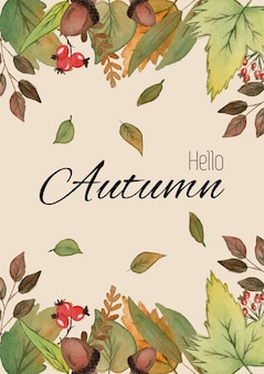 こんにちは秋。紅葉と手レタリングの水彩イラスト