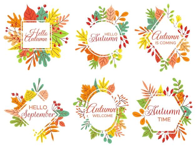 こんにちは秋。ようこそ9月、秋の落ち葉のフレームと黄色の葉のレタリングイラストセット