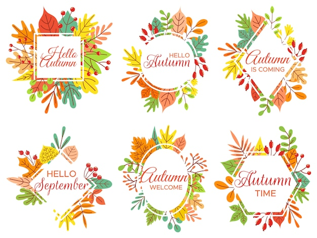 Hello autumn. welcome september, autumnal fallen leaves frame and yellow leaf lettering  illustration set